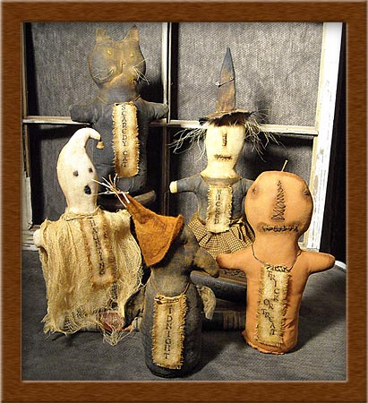 Halloween Stump Dolls-stump dolls, witch, cat, crow, pumpkin, ghost, Halloween, Halloween Stump Dolls, primitive