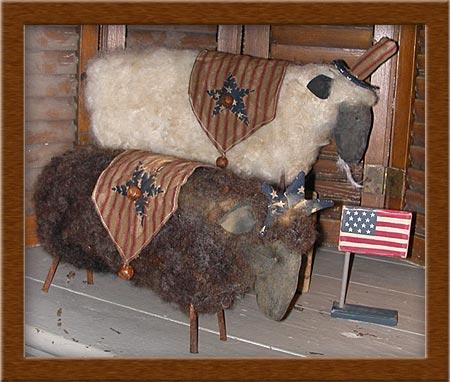 Americana in Wool-wool, sheep, Americana, needle-felted, primitive