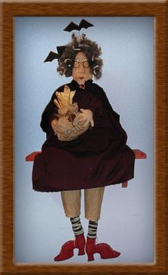 Aunt Nells and her Bag of Spells-witch, bag, spells, Aunt Nells, primitive, muslin, homespun
