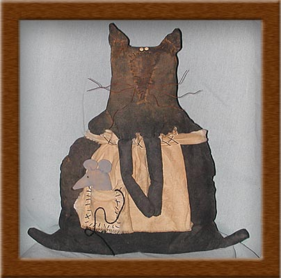 Auntie Tea and Snack-cat, painted, muslin, mouse, snack, Auntie Tea, primitive
