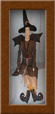 Batty Hatty-witch, primitive, wire hair, muslin, Batty Hatty