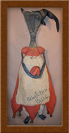 Bewitchin' Belle-cat, witch, Bewitchin' Belle, primitive, muslin