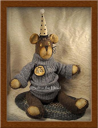 Boomer Bear-bear, primitive, Boomer Bear, felt, stuffed,