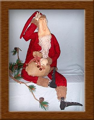 Clyde S. Klaus-fleece, Santa, list, Clyde Klaus, primitive, coffee-dyed