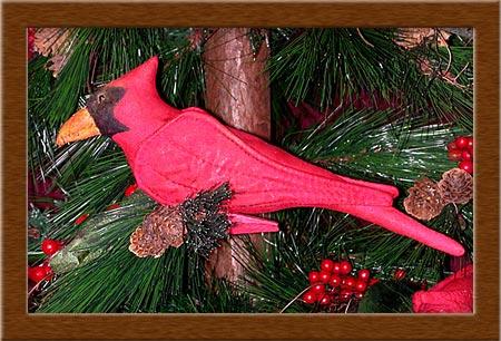 Corbett Cardinal Ornie-cardinal, bird, ornament, Corbett, painted, muslin, primitive