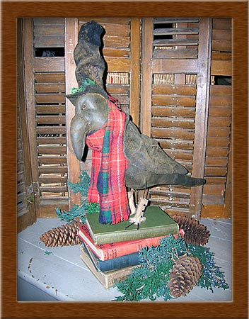 Cratchit  the Crow-crow, humble, painted, waxed, muslin spat, distressed, Cratchit, primitive, Christmas