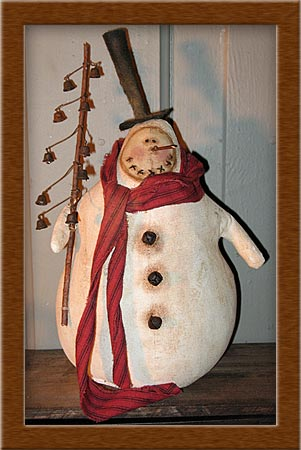 Edgar B. Drifty-snowman, painted muslin, Edgar B. Drifty, primitives distressed, coffee dyed