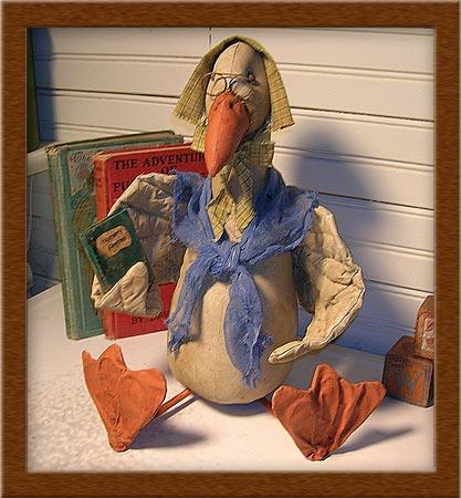 Storybook Edna-goose, storybook,Edna, painted muslin, book, primitive