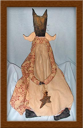 Francis the Feline Angel-cat, angel, primitive, Francis, feline, painted, muslin