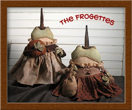 Frogette Witches-frogs, witch, Frogettes, primitive, Minnie, Pearl, pumpkin