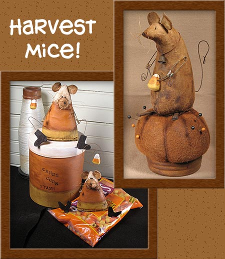 Harvest Mice-candy corn, pin-keep, mice, primitive, pumpkin, mouse, wool, Duffy, harvest