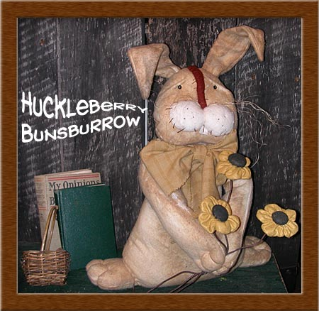 Huckleberry Bunsburrow-bunny, rabbit, primitive, Huckleberry Bunsburrow, huckleberry, flowers