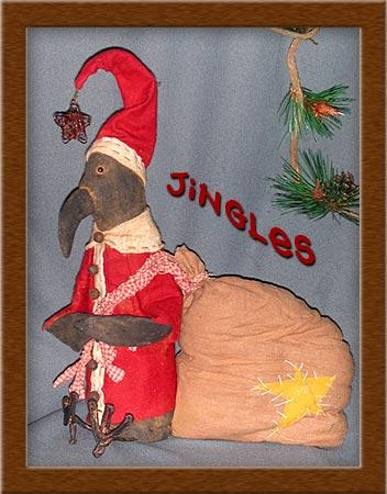 Jingles the Crow-crow, santa, Jingles, painted, muslin, wool, primitive,