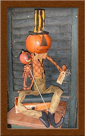 Julius Bump-pumpkin head, pumpkin, Julius, Bump, primitive, muslin,