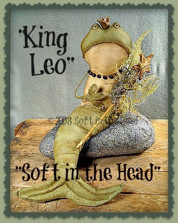 """King Leo""  the Tadpole-frog, king, mermaid, green"