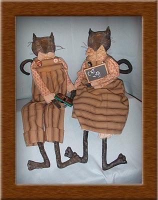 Kit and Hobbs-cat, kitten, painted, muslin, primitive, Kit, Hobbs