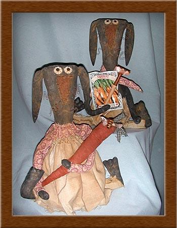 Lulu and Bubba Bean-bunnies, rabbits, Lulu, Bubba, Bean, primitive, muslin