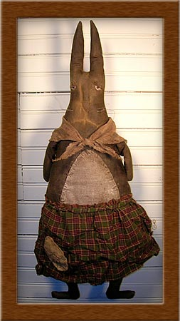 Mildred-rabbit, bunny, primitive, Mildred, housekeeper, distressed, muslin