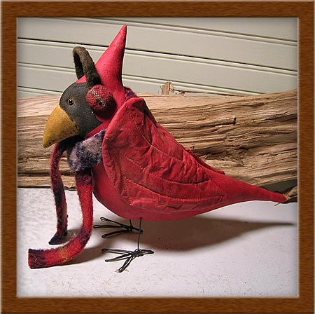 Milo the Cardinal-Milo, cardinal, painted, muslin, birds, needle-sculpted, ear muffs,
