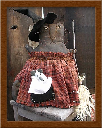 Mrs. Finkwinkle-cat, witch, Mrs. Finkwinkle, primitive, muslin