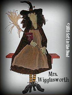 Mrs. Wigglesworth-Mrs. Wigglesworth, witch, twig broom, muslin, primitive