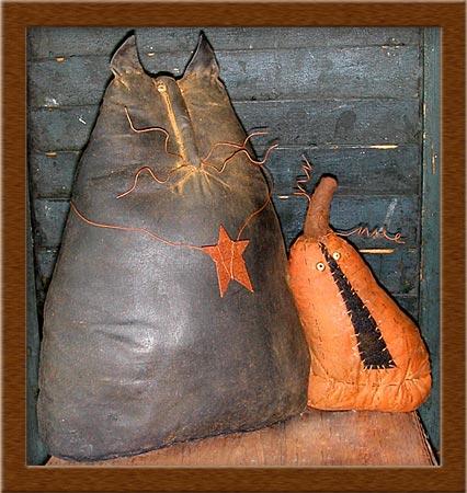 Mulrooney and Ira-cat, pumpkin, Mulrooney and Ira, primitive,