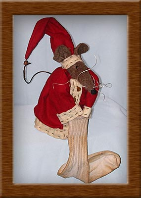Mr.Nibbs-mouse, Christmas, Santa, Mr. Nibbs, wool, plush felt,