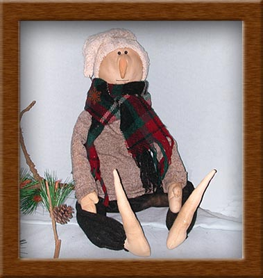 Norris of the Forest-snowman, muslin, wool, Norris, forest, primitive