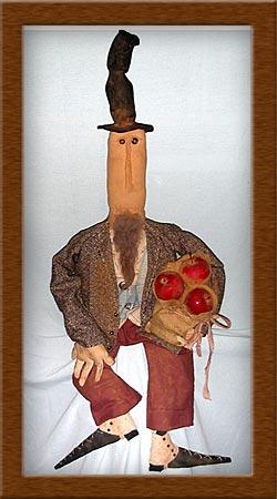 Sam, Sam the Apple Man-apple, man, burlap, spats, primitive, Sam