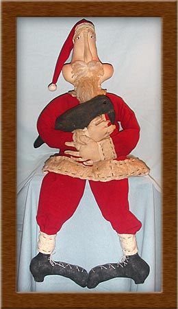 Carl and Max-Christmas, SAnta, crow, cookies, Carl and Max, primitive, painted muslin, duet,