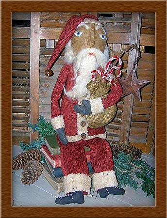 Sinter Klaas-Sinter Klaas, Santa, Christmas, holiday, osnaburg, needle-sculpted, wool
