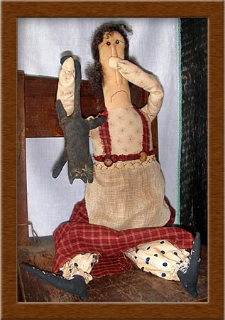 Martha and Smelly Cat-painted, muslin, cat, kitty, Martha and her Smelly Cat, primitive, doll