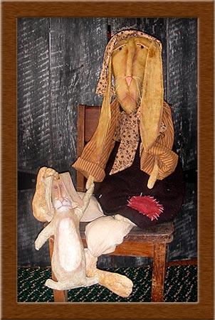 Sorrowful Sadie-rabbit, bunny, sorrowful, primitive, muslin, Sorrowful Sadie