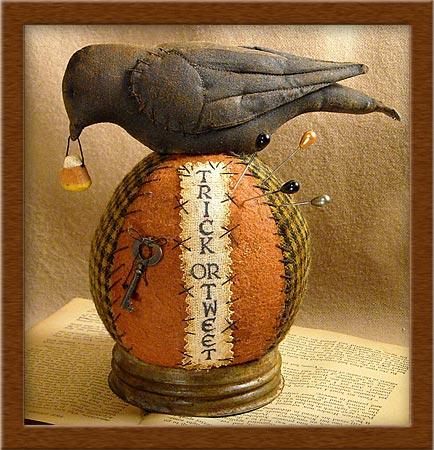 Trick or Tweet Pin-Keep-pin-keep, blackbird, pin cushion, Halloween, Trick or Tweet,
