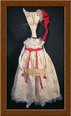 Lily Whyte-cat, kitty, painted, muslin, Christmas, Lily Whyte, primitive,