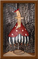 Bouncing Sammy-rusty spring, painted, muslin, primitive, Americana, Bouncin' Sammy, uncle sam