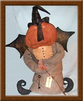 Cleavon Creeps-Cleavon Creeps, Halloween, witch, pumpkinhead, primitive, bat wings, barbwire,