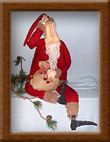 Clyde S. Klaus-fleece, Santa, list, Clyde Klaus, primitive, coffee-dyed