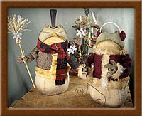 Flakettes  (Frogs)-frog, snowman, winter, wool, painted muslin, Flakettes, primitive,