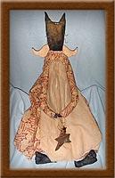 Francis the Feline Angel-cat, angel, primitive, Francis, feline, painted, muslin