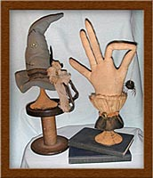 Bewitchin' Pair-hat, hand, Bewitchin' Pair, make-do, primitive, candlesticks