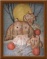 Hoot Nanny Owls-owl, hoot nanny, primitive, pumpkin, centerpiece, osnaburg
