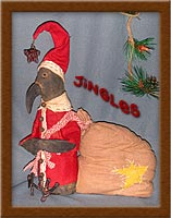 Jingles the Crow-crow, santa, Jingles, painted, muslin, wool, primitive,