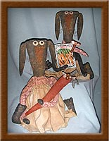 Lulu and Bubba Bean-bunnies, rabbits, Lulu, Bubba, Bean, primitive, muslin