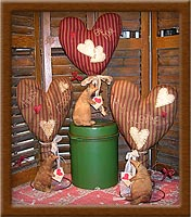 Special Delivery-mouse, heart, letter, Special Delivery, primitive, ticking, muslin, Valentine