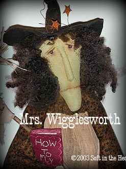 Mrs. Wigglesworth-Mrs. Wigglesworth, witch, twig broom, muslin, primitive