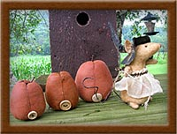 The Pumpkin Express-mouse, pumpkin, Pumpkin Express, primitive, muslin
