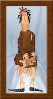 Ruth Anne-primitive, muslin, teddy bear, Ruth Anne, homespun, coffee-dyed