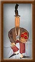 Sam, Sam the Apple Man-apple, man, burlap, spats, primitive, Sam