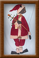 Santy Claws-cat, Santy Claws, painted, muslin, Christmas, homespun, primitive,
